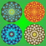 Красивые воздушные шары с круглым орнаментом на зеленой предпосылке Стоковое Изображение RF