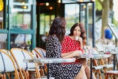 Красивые двойные сестры выпивая кофе Стоковая Фотография RF