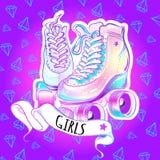 Красивые высоко-детальные ролики рэгби с крылами Иллюстрация вектора в розовых неоновых цветах девушки Печать моды, стикер, плака иллюстрация вектора
