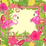 Красивые гаваиские обои с экзотическими цветками, тропическими листьями и розовым фламинго для wedding и приглашений партии, pri  иллюстрация вектора