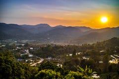 Красивые горные виды на оправе Mae, Чиангмае, северном Таиланде Стоковое Фото