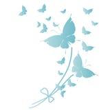 Красивые голубые бабочки, изолированные на белизне иллюстрация штока