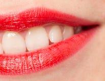 Красивые губы с красной губной помадой Стоковое фото RF