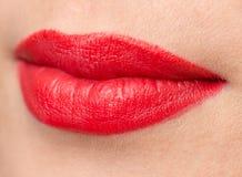 Красивые губы с красной губной помадой Стоковое Изображение