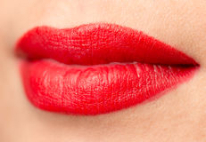 Красивые губы с красной губной помадой Стоковое Изображение RF