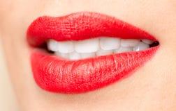 Красивые губы с красной губной помадой Стоковые Изображения
