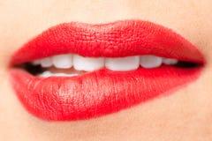 Красивые губы с красной губной помадой Стоковая Фотография RF