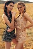 Красивые девушки в вскользь одеждах представляя на сене Стоковые Фотографии RF