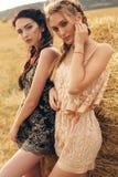 Красивые девушки в вскользь одеждах представляя на сене Стоковые Изображения