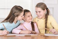 Красивые девушки делая домашнюю работу Стоковые Изображения