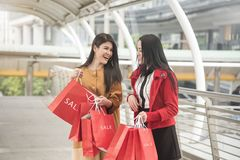 Красивые девушки держа хозяйственные сумки идя на торговый центр Стоковое Фото
