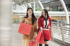 Красивые девушки держа хозяйственные сумки идя на торговый центр Стоковое Изображение