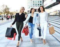 Красивые девушки с хозяйственными сумками идя на мол Стоковая Фотография RF