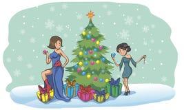Красивые девушки штыря-вверх в костюме воодушевленном рождеством Стоковые Фотографии RF