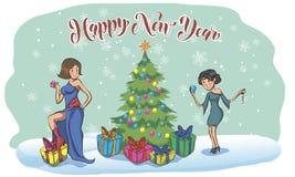 Красивые девушки штыря-вверх в костюме воодушевленном рождеством иллюстрация вектора
