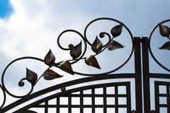 Красивые декоративные элементы металла выковали чугунные ворота стоковое фото