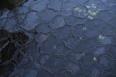 Красивые детали картины и текстуры замороженного льда в озере на зиме Стоковое Изображение