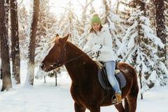 Красивые девушка и лошадь в зиме Стоковая Фотография