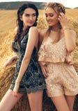 Красивые девушки в вскользь одеждах представляя на сене Стоковые Фото