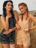 Красивые девушки в вскользь одеждах представляя на сене Стоковая Фотография RF