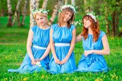 Красивые девушки на зеленой траве Стоковая Фотография RF