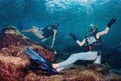 Красивые девушки смотря вас пока плавающ под водой Стоковые Изображения