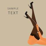 Красивые женские ноги нося чулки и чернота высоко-накренили ботинки иллюстрация вектора