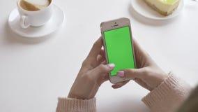 Красивые женские руки используя smartphone в кафе, зеленая концепция экрана 60 fps сток-видео