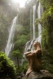 Красивые женщина и водопад стоковые фотографии rf
