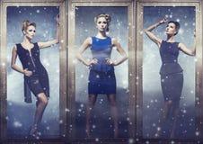 Красивые женщины в моде одевают представлять в золотых рамках Стоковые Фото
