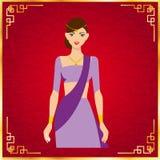 Красивые женщины Индии в красной предпосылке Иллюстрация вектора