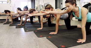 Красивые женщины работая в студии фитнеса сток-видео