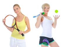 Красивые женщины с ракеткой тенниса Стоковая Фотография