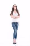 Красивые джинсы молодой дамы нося Стоковая Фотография RF
