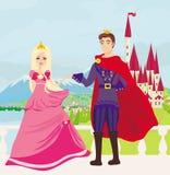 Красивые замок и принцесса с принцем Стоковое Изображение