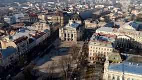 Красивые занятые дороги города Львова с сериями движения, гипер промежутка времени акции видеоматериалы
