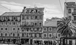 Красивые здания и взгляды улицы в Лиссабоне - ЛИССАБОНЕ/ПОРТУГАЛИИ - 14-ое июня 2017 Стоковые Изображения RF