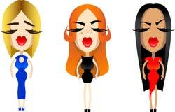 Красивые значки для дизайна, губы девушек женщины Стоковые Фото