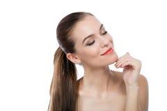 Красивые здоровые сторона и волосы женщины Стоковая Фотография