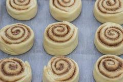 Красивые и сырые плюшки циннамона с циннамоном Стоковое Фото