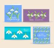 Красивые карточки вектора с цветками snowdrops стоковые изображения rf