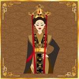 Красивые китайские женщины в предпосылке Иллюстрация штока
