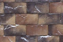 Красивые коричневые коричневые кирпичи камней, текстура предпосылки с брызгают снега Текстурированный материал для конструкции фа стоковое фото rf