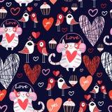 Красивые коты и птицы любовников картины Стоковая Фотография