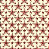 Красивые красные звезды на картине светлой предпосылки безшовной vector иллюстрация Стоковое Изображение