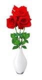 Красивые красные розы в белой вазе изолированной на белизне Стоковое Изображение RF