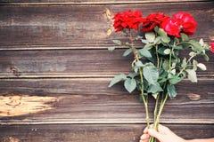 Красивые красные розы на задней части деревянных праздников предпосылки романтичной Стоковое фото RF