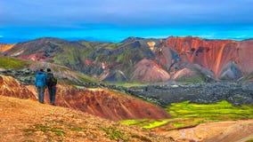 Красивые красочные вулканические горы Landmannalaugar в Исландии Стоковая Фотография