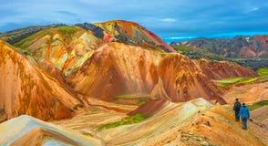 Красивые красочные вулканические горы Landmannalaugar в Исландии Стоковые Изображения RF