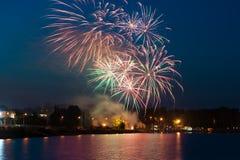 Красивые красочные фейерверки на ноче Стоковая Фотография RF